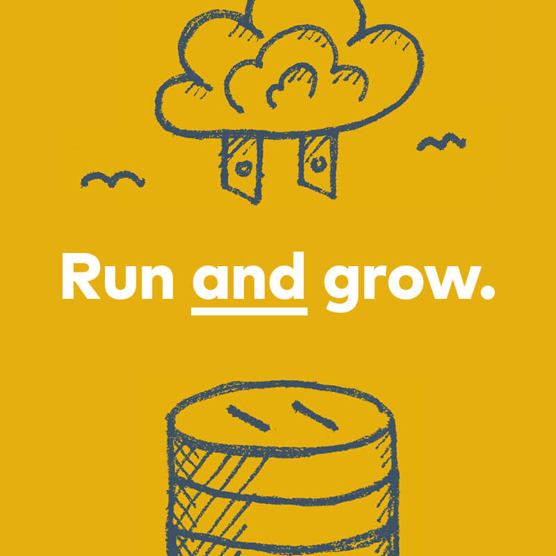 """Run AND grow."" 2-pronged plug-like cloud hovering above an outlet-like silos."
